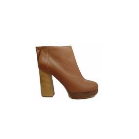 Natacha Zapato Mujer Botineta Cuero Suela Taco Madera #1111