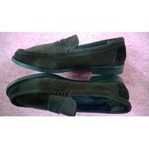 Mocasines Cuero Gamuza Zapato N°43-suela Febo-cosidos A Mano