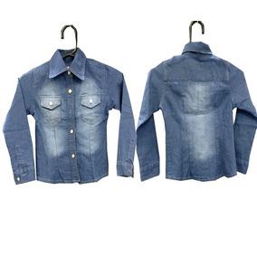Camisa Jeans Feminina Infantil Do Tamanho 2 Ao 14