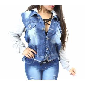 Jaqueta Jeans Feminina Blusa Frio Moletom C/ Capuz Removível
