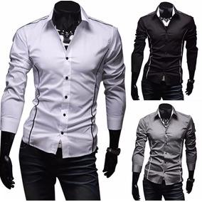 Camisa Modern Slimfit Shirt Moda Japonesa Corte Pegado