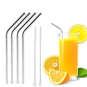 5 Canudos Inox C/ Escova De Limpeza Reutilizável Ecológico