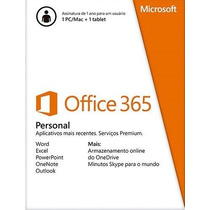 Office 365 Personal P/1 Pc+1tablet Ou Smartphone Midia(card)