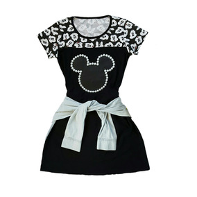 Vestido Feminino Preto Aplicação Mickey Com Couro E Pérolas