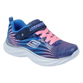 Tenis Skechers Azul Celeste Rosa Para Niña