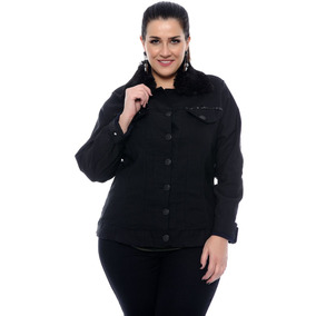 Jaqueta Feminina Plus Size Tamanho Grande Jeans Preta