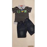 Conjunto Infantil Importado Camisa Polo E Bermuda Jeans