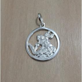 Pingente São Jorge Medalha Prata 950