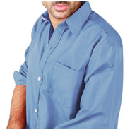 Camisa Manga Larga Lisa Hombre Variedad Colores Con Bolsillo