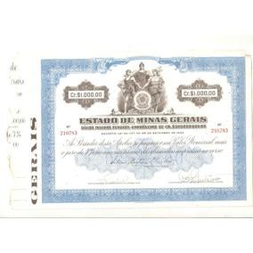 Minas Gerais Apólice De 1000,00 Cruzeiros