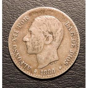 España 50 Céntimos De Peseta 1880 De Plata - Mundocoin