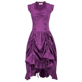 Vestido Vintage Morado Steampunk Gotico Victoriano Belle Poq