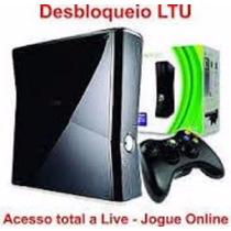 Xbox360 Ltu Desblo.+1controle Ori+10 Jogos Brinde+1 Bateria