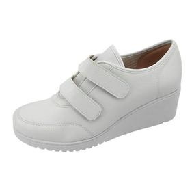 Tenis Sapato Branco Enfermagem Sola Alta Anabela Azaleia