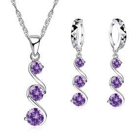 Set Collar Y Aretes Plata .925 Mujer Joya Zirconia Púrpura