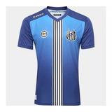 Camisa Do Santos Fc Uniforme 3 Azul 17/18 Pronto Entrega