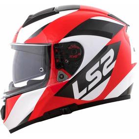 Capacete Ls2 Ff397 Vector Wavy Preto Branco E Vermelho