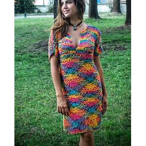 Vestido Tejido A Mano De Hilo Multicolor