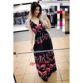 Vestido Floral Longo Feminino Decote V Moda Verao Alcinha