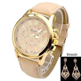 Relógio Geneva Dourado Pulseira Em Couro + Brinde