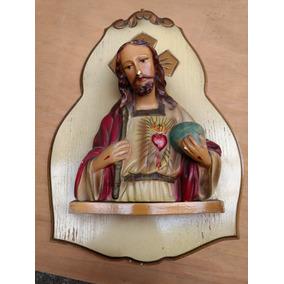 Antiguo Cuadro Del Sagrado Corazón De Jesús