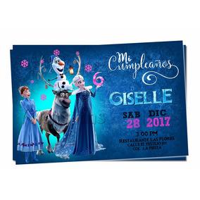Invitacion Frozen Elsa Ana Olaf Aventura Imprimible