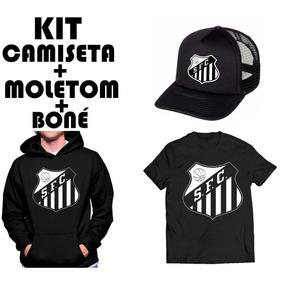 404052d6a1 Kit Moletom Camiseta E Boné Telinha Santos Fc Futebol Time