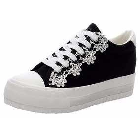 Zapato Plataforma Tipo Importados Negros Talla 36 / 23 Cmts