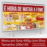 Lona Com Ilhos - 200x100cm - Lanches, Batata Frita, E Etc