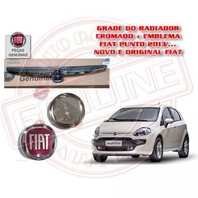 Grade Friso Cromada + Emblema Novo Fiat Punto 2013 Original