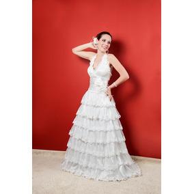 Vestido De Noiva Frente Única Com Saia De Babados.