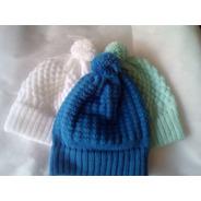 3 Toucas De Tricô Gorro De Lã Para Bebês 3 A 6 Meses