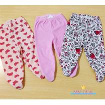Calça Culote Mijão Bebê Menina C/ Pezinho Em Plush Kit 3 Und