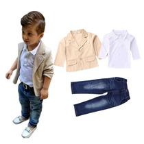 Blazer Com Polo E Calça Jeans Infantil Tam 1 Ao 8