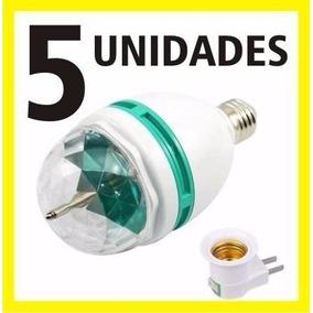5 Lampadas Led Colorido Rotativa Giratoria Bola Maluca Festa