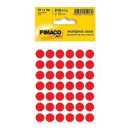 2 Etiqueta Adesiva P/ Codificação 12mm Vermelha Pt 210 Un