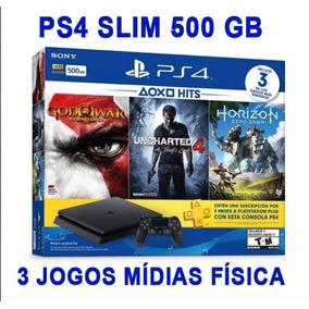 Ps4 Slim 500gb Novo Com 1 Controle + 3 Jogos Em Mida Física