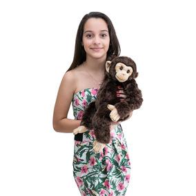 Chimpanzé De Pelúcia Real M 48cm Frete Gratis