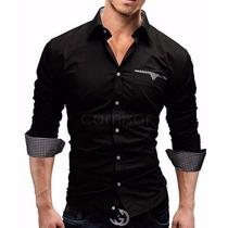 Camisa Social Masculina Slim Fit Estilo Casual Moderna Luxo