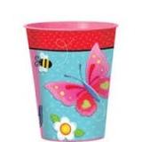Vaso Plástico Importado Garden Girl Flores Y Mariposas