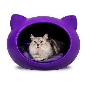 Casinha Guisa Pet Para Gatos Cat Cave Lilás Com Almofada Pr
