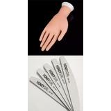 Mão Postiça Treino Manicure Dedo 10 Lixas Bananão