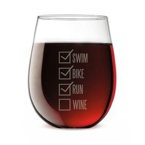 Triathlon Engraved Stemless Wine Glass | Swim Bike Run Chec