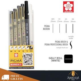 Kit 6 X Canetas Pigma Manga Sakura Desenho Brush