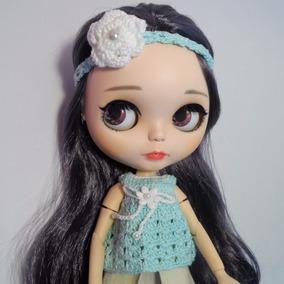 Blusa & Tiara Crochê Verde Bonecas Blythe, Barbie, Pullip