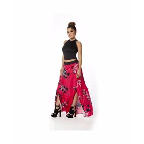 Conjunto 11484 Maxi Falda Print Flores Y Blusa Moda Nacional