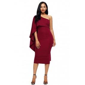 Vestido Fiesta Un Hombro Color Tinto Envío Gratis Ropa Mujer