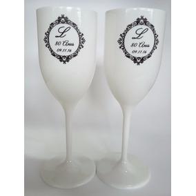 60 Taças Brancas Personalizadas Para Casamento Ou Debutante