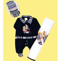 Saída De Maternidade Urso Marinheiro Azul Bebê / Rn