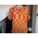 Blusa Linha De Algodão Mesclada (vermelha E Amarela )crouchê